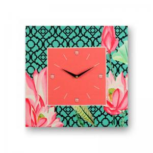floral-green-framed-analogue-wall-clock-pink - wall-clocks